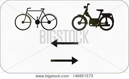 Additional Road Sign Used In Belgium - Bikes And Mopeds In Both Directions