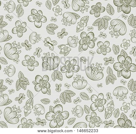 Floral Seamless Cute Summer Pattern With Flowers Leaves And Butterflies