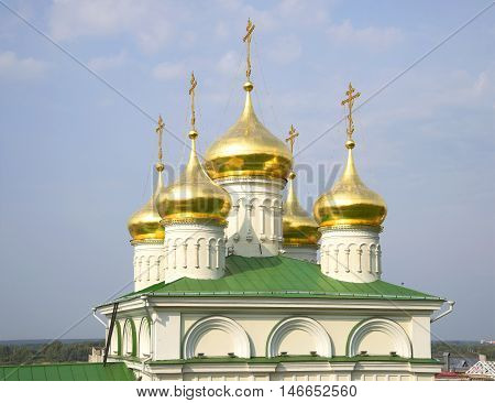 Dome of the old Church of St John the Baptist closeup. Nizhny Novgorod, Russia
