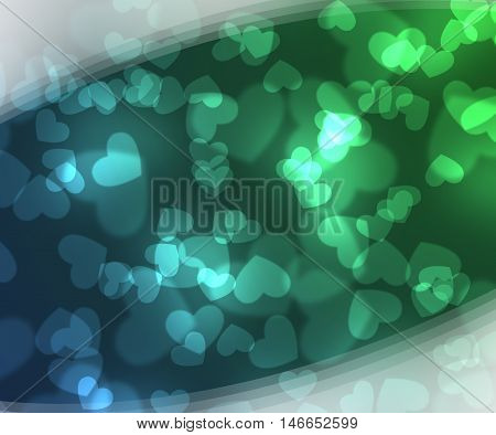 Abstract heart green and blue  background. Magic light illustration background with sweet heart design.
