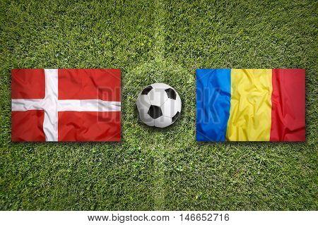 Denmark Vs. Romania Flags On Soccer Field, 3D Illustration