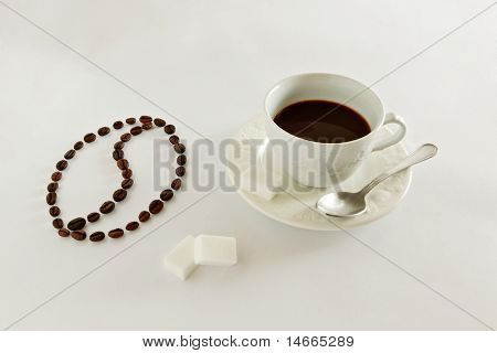 Coffee Beans Draw A Coffee Bean Symbol And A Cup Of Coffee