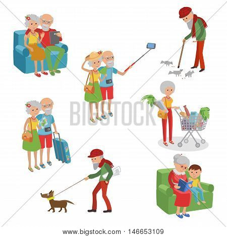 Vector set of characters in a flat style. Cartoon characters elderly. Grandmothers grandfathers in different situation.