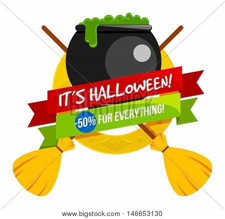 Halloween sale or special discount offer colorful logo emblem with a caldron with poison and witches brooms isolated