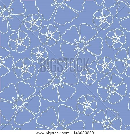 Elegant white sakura cherry blossom seamless pattern background over blue