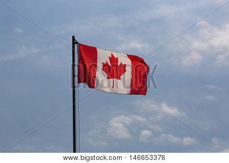 National Flag Of Canada On A Flagpole