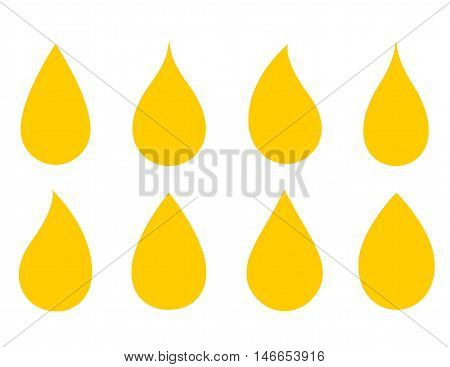 set of drops silhouette on white background