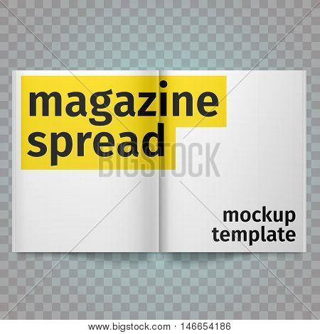 Book Spread With Blank White Pages. Vector blank magazine spread. Isolated white paper. A4 brochure open. Template magazine spread.