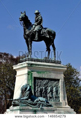 Washington DC - April 9 2014: Equestrian Statue of General later President Ulysses S. Grant at the Civil War Memorial on the National Mall