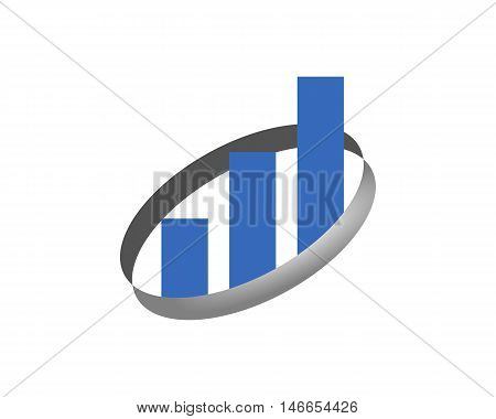 Graph logo with circle isolated on white background