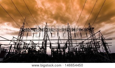 Sub station 115/22 kV outdoor type silhouette