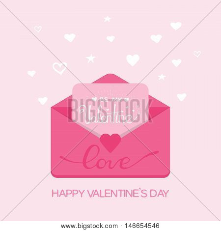 Valentine s day illustration. Receiving or sending love emails and sms, long distance relationship. Flat design, vector