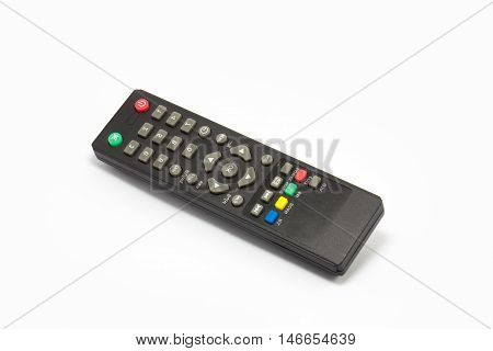 Remote control for sattelite receiver box on white backgruond