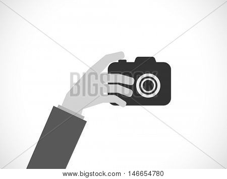 hand with photo camera - flat icon