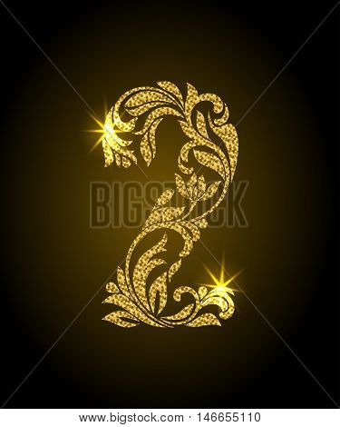 2. Decorative Font With Swirls And Floral Elements. Ornate Decorated Digit Two With Golden Glitter
