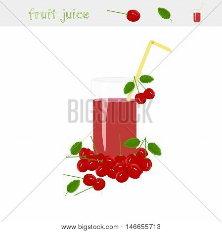 Banner Cherry juice. A glass of juice, straw yellow, cherries with green leaves, on white background, vector