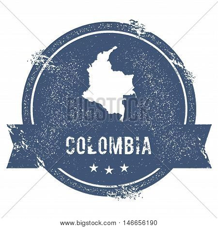 Colombia Mark. Travel Rubber Stamp With The Name And Map Of Colombia, Vector Illustration. Can Be Us
