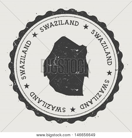 Swaziland Hipster Round Rubber Stamp With Country Map. Vintage Passport Stamp With Circular Text And