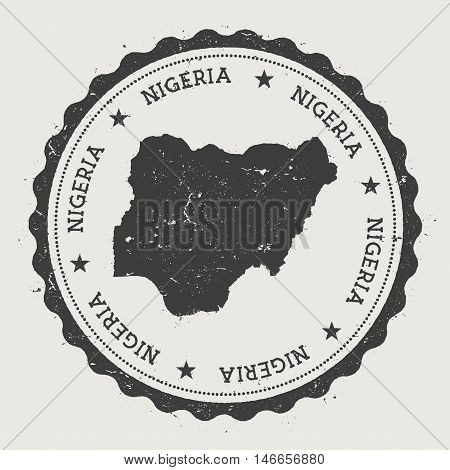 Nigeria Hipster Round Rubber Stamp With Country Map. Vintage Passport Stamp With Circular Text And S
