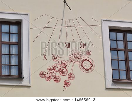 sundial on the wall of the house South Bohemia Czech Republic