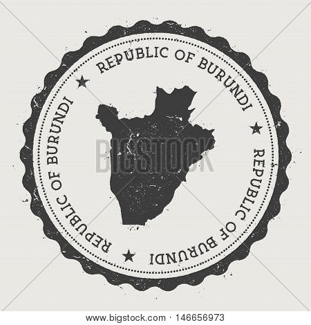 Burundi Hipster Round Rubber Stamp With Country Map. Vintage Passport Stamp With Circular Text And S
