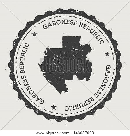 Gabon Hipster Round Rubber Stamp With Country Map. Vintage Passport Stamp With Circular Text And Sta