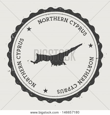 Northern Cyprus Hipster Round Rubber Stamp With Country Map. Vintage Passport Stamp With Circular Te