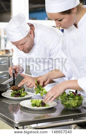 Professional and dedicated chefs prepares beef meat dish in a professional kitchen at gourmet restaurant or hotel.