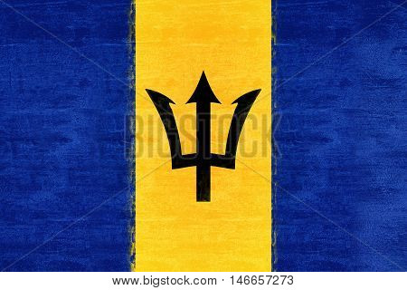 Illustration of the flag of Barbados Grunge