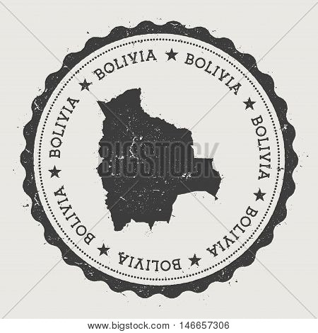 Bolivia Hipster Round Rubber Stamp With Country Map. Vintage Passport Stamp With Circular Text And S