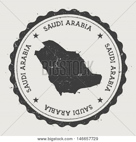 Saudi Arabia Hipster Round Rubber Stamp With Country Map. Vintage Passport Stamp With Circular Text