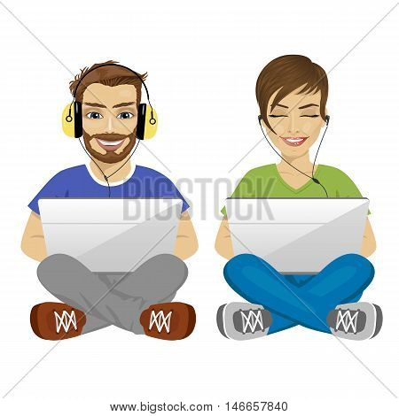 young man and woman sitting on floor with headphones and laptop gaming isolated over white background