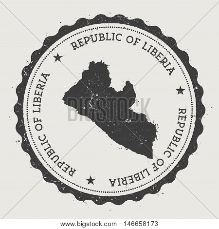 Liberia Hipster Round Rubber Stamp With Country Map. Vintage Passport Stamp With Circular Text And S