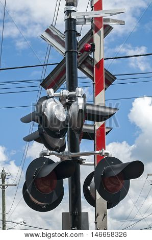 Pylon with railway traffic lights and signs