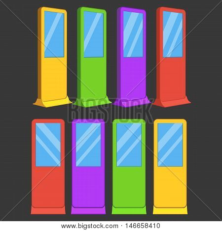 LCD TV Info Floor Stands in different colors. Blank Trade Show Booth Group. Vector illustration of kiosk machine on black background. Ad template for your expo design