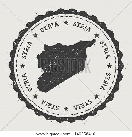 Syrian Arab Republic Hipster Round Rubber Stamp With Country Map. Vintage Passport Stamp With Circul
