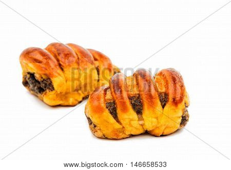 poppy seed strudel on a white background