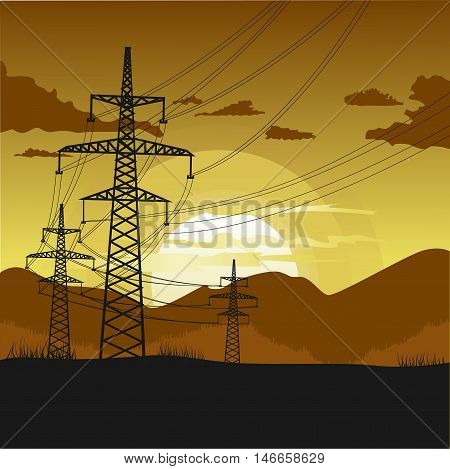 High voltage transmission towers. Beautiful landscape at sunset in the evening