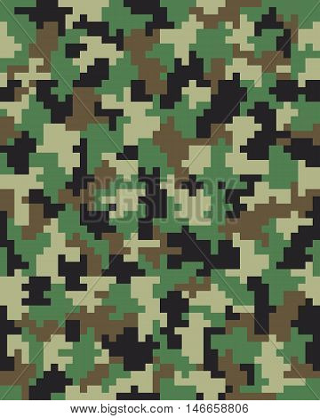 Seamless digital fashion camouflage pattern, vector illustration