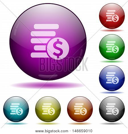 Set of color Dollar coins glass sphere buttons with shadows.
