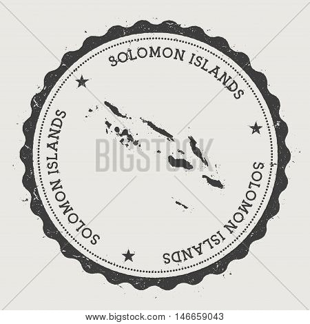 Solomon Islands Hipster Round Rubber Stamp With Country Map. Vintage Passport Stamp With Circular Te