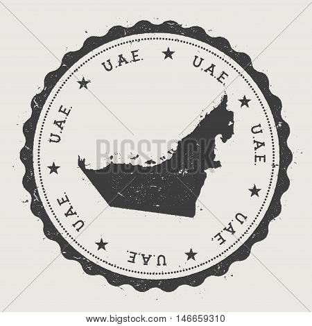 United Arab Emirates Hipster Round Rubber Stamp With Country Map. Vintage Passport Stamp With Circul