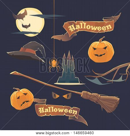 Set of stickers and elements. Happy Halloween. Pattern hat, pumpkin, spider, bat, castle, broom and moon Vector illustration