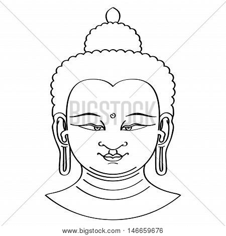 Buddha head illustration in brush technique. Black brushstrokes on white background. Urna, the spiral between the eyebrows symbolizes the third eye and vision into the divine world.
