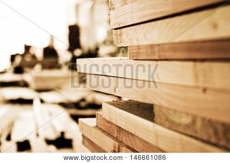Stacked Wooden Planks