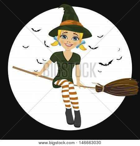 Beautiful blonde witch in green dress flying on a broom