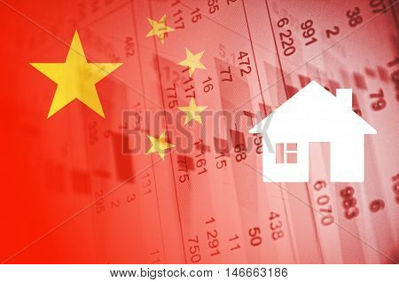 China housing market. China flag, with the financial data in the background.