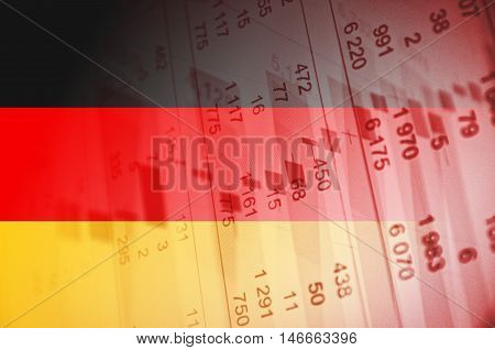 Germany flag, with the financial data in the background.