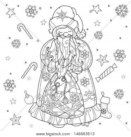 Vector cute christmas Santa Claus doodle.Hand drawn line illustration.Sketch for postcard or print or coloring anti stress adult book.Boho zen art style.
