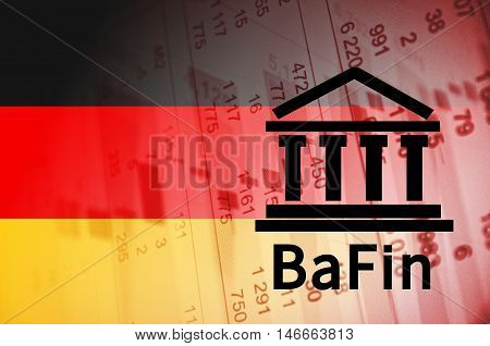Building icon with inscription BaFin. German flag, with the financial data in the background.